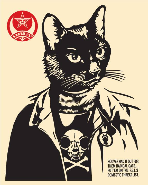 cat art show los angeles shepard fairey