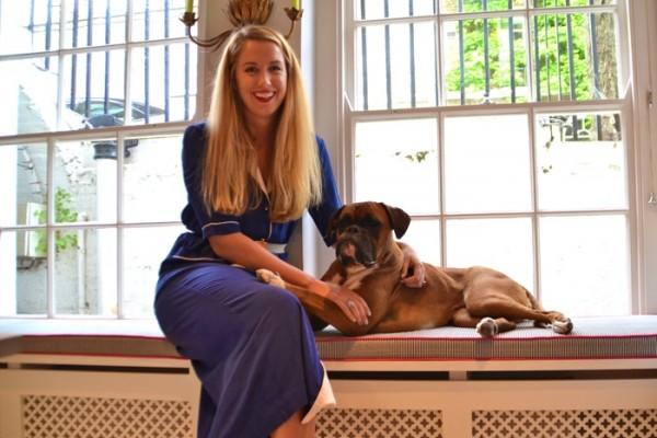 Olivia von Halle and Bathtub the Boxer dog