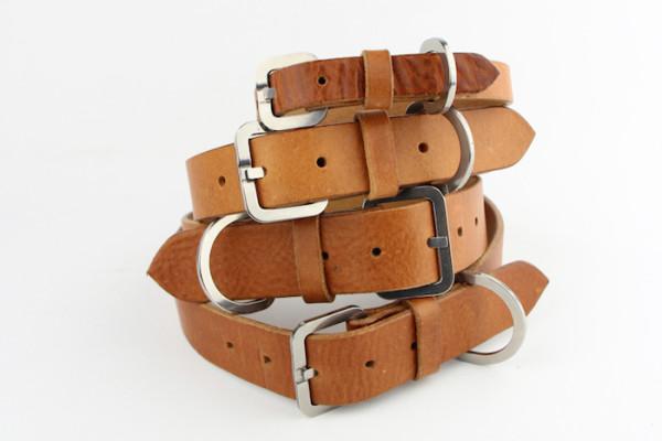 tan leather dog collars by bone and rag