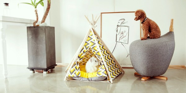 yellow pet teepee huts and bay