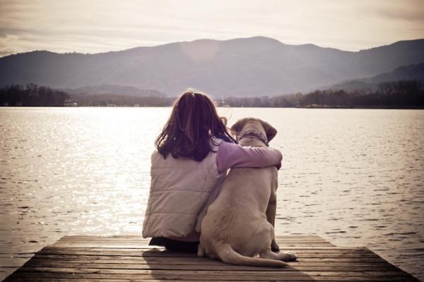 cute dog hug