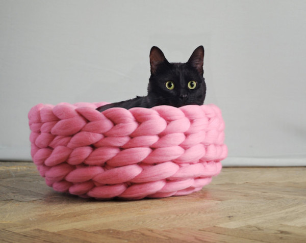 pink knitted wool pet bed by ohhio