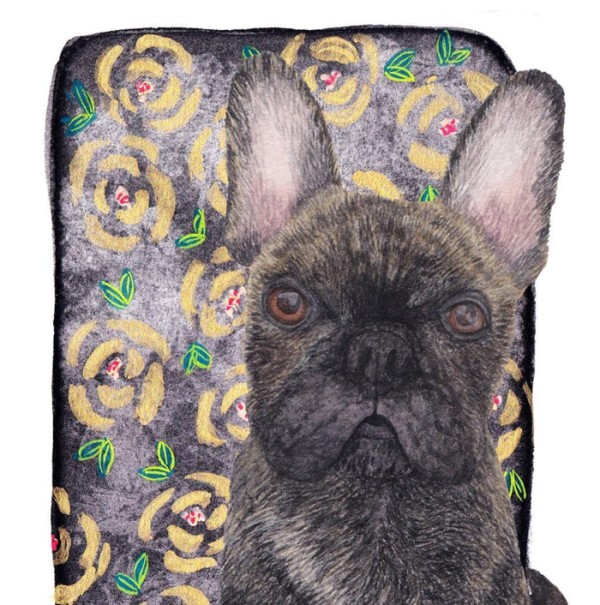 Custom dog portrait by Louise Jewell