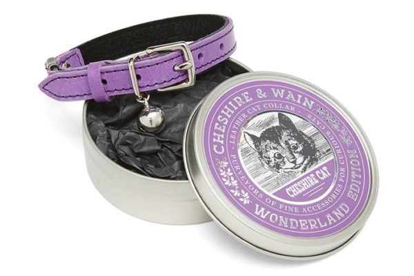 cheshire and wain purple leather cat collar