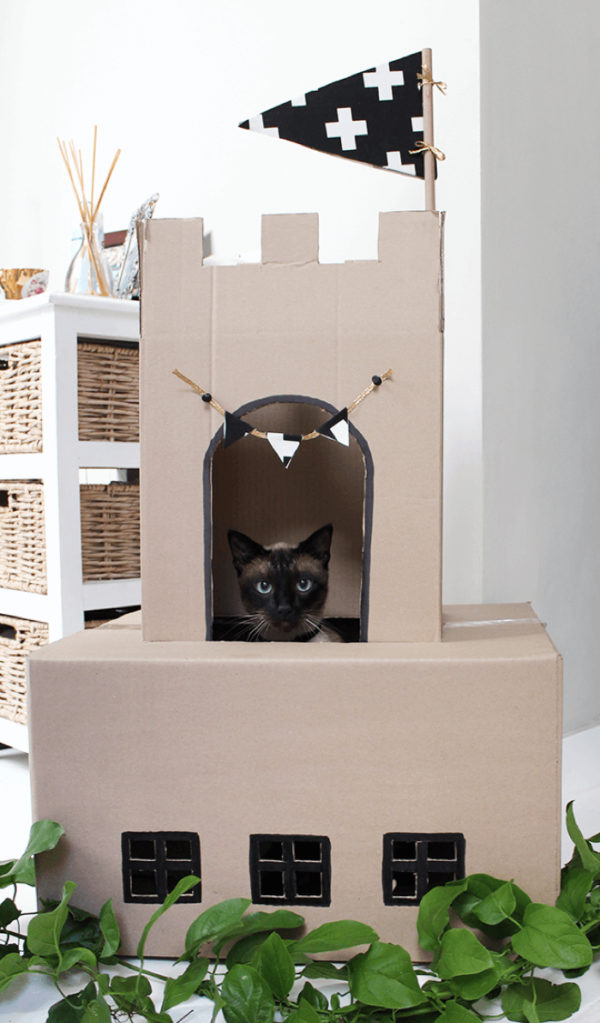 DIY cardboard cat castle melissa louise